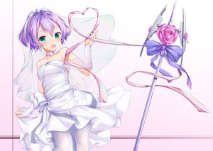 Rating: Safe Score: 33 Tags: anthropomorphism azur_lane bow dress flowers green_eyes headdress javelin_(azur_lane) pantyhose purple_hair ribbons shimo_(shimo332215) short_hair weapon wedding_attire User: RyuZU