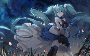 Rating: Safe Score: 48 Tags: clouds dress grass green_eyes green_hair hatsune_miku kyod+ long_hair ribbons signed sky stars thighhighs twintails vocaloid zettai_ryouiki User: Dreista