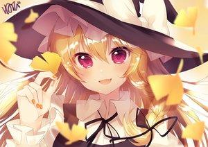 Rating: Safe Score: 44 Tags: autumn blonde_hair blush close fang hat kirisame_marisa leaves long_hair neno_(nenorium) purple_eyes ribbons signed touhou witch_hat User: otaku_emmy