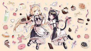 Rating: Safe Score: 57 Tags: 2girls aliasing apron black_hair blonde_hair bow cake catgirl cat_smile cherry chocolate drink food fruit maid mechuragi original red_eyes strawberry tail thighhighs twintails waitress yellow_eyes User: sadodere-chan