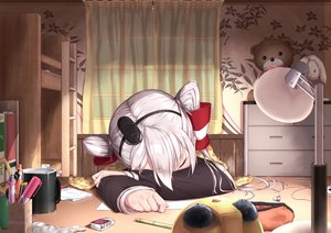 Rating: Safe Score: 32 Tags: aliasing amatsukaze_(kancolle) anthropomorphism headband kantai_collection seifuku sleeping tagme_(artist) twintails white_hair User: luckyluna