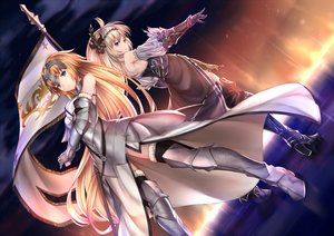 Rating: Safe Score: 119 Tags: 2girls armor blonde_hair blue_eyes boots clouds crossover fate/apocrypha fate/grand_order fate_(series) gloves granblue_fantasy headdress jeanne_d'arc_(fate) jeanne_d'arc_(granblue_fantasy) long_hair pak_ce sky stars sunset thighhighs water User: RyuZU