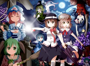 Rating: Safe Score: 30 Tags: bicolored_eyes blonde_hair blood blue_hair blush bow brown_eyes brown_hair dress food green_eyes green_hair group hat kasodani_kyouko kisume maribel_han miyako_yoshika moon night pink_hair saigyouji_yuyuko short_hair soga_no_tojiko tatara_kogasa tie touhou tsurukou_(tksymkw) umbrella usami_renko yellow_eyes User: Wiresetc