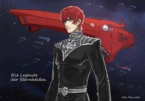 Rating: Safe Score: 3 Tags: airship all_male blue_eyes ginga_eiyuu_densetsu male red_hair ryuuzaki_ichi short_hair siegfried_kircheis space stars uniform watermark User: RyuZU