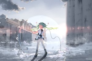 Rating: Safe Score: 57 Tags: boots building city clouds green_hair hebinui original red_eyes skirt sky twintails underwear upskirt User: STORM