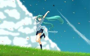Rating: Safe Score: 49 Tags: aircraft clouds flowers grass hatsune_miku kneehighs skirt sky vocaloid watermark User: 秀悟