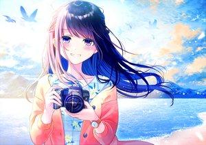 Rating: Safe Score: 137 Tags: animal beach bird black_hair blush camera clouds kashiwabara_en long_hair original purple_eyes sky water wristwear User: RyuZU