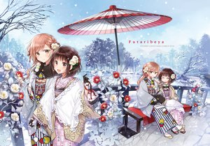 Rating: Safe Score: 40 Tags: 2girls flowers food futaribeya japanese_clothes kawawa_sakurako kimono snow umbrella watermark winter yamabuki_kasumi yukiko_(tesseract) User: BattlequeenYume