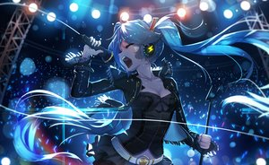 Rating: Safe Score: 186 Tags: aqua_hair bai_yemeng breasts cleavage gothic hatsune_miku headphones long_hair microphone skirt twintails vocaloid User: RyuZU