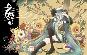 Rating: Safe Score: 36 Tags: animal aqua_eyes aqua_hair bird flowers hatsune_miku leaves long_hair music rose skirt thighhighs tie tree twintails vocaloid User: anaraquelk2