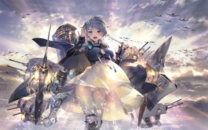 Rating: Safe Score: 98 Tags: aircraft aliasing anthropomorphism azur_lane breasts cape cleavage clouds dress elbow_gloves gloves gray_hair janyhero purple_eyes seattle_(azur_lane) see_through short_hair skirt_lift sky thighhighs upskirt water weapon User: BattlequeenYume