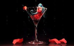 Rating: Safe Score: 368 Tags: aqua_eyes aqua_hair bow cherry dress drink food fruit hatsune_miku jpeg_artifacts liu_guniang long_hair petals twintails vocaloid water User: Flandre93
