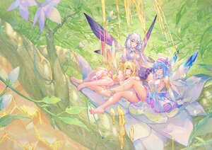 Rating: Safe Score: 126 Tags: aqua_eyes aqua_hair atdan barefoot blonde_hair breasts butterfly dress elbow_gloves fairy flowers forest gloves gray_hair haiyi hat honey leaves long_hair pink_eyes shian_(synthv) short_hair sideboob synthesizer_v tree twintails vocaloid wings wink xingchen yellow_eyes User: otaku_emmy
