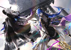 Rating: Safe Score: 57 Tags: 2girls animal_ears aqua_eyes arknights blue_hair boots elbow_gloves foxgirl gloves gray_eyes gray_hair halo horns lappland_(arknights) long_hair mostima_(arknights) sakushou scar signed staff weapon User: Nepcoheart