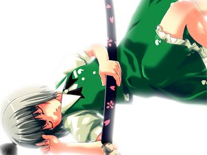 Rating: Safe Score: 5 Tags: katana konpaku_youmu short_hair sword touhou weapon white User: Oyashiro-sama