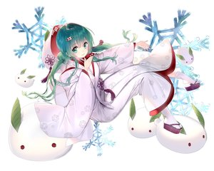 Rating: Safe Score: 71 Tags: aqua_eyes aqua_hair drink hatsune_miku hoodie japanese_clothes kaku-san-sei_million_arthur kimono long_hair rozer sake socks twintails vocaloid wedding_attire yuki_miku User: reyaes
