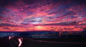 Rating: Safe Score: 80 Tags: building city clouds jpeg_artifacts knyt_(nanamzsk) original pink scenic sky stars sunset User: FormX