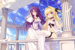 Rating: Safe Score: 195 Tags: 2girls animal bird blonde_hair breasts choker cleavage delores_(mvv) dress eleanor_(mvv) feathers mvv necklace original purple_eyes purple_hair thighhighs User: FormX