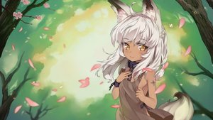 Rating: Safe Score: 79 Tags: animal_ears breasts cherry_blossoms collar dark_skin flowers forest foxgirl game_cg mirror_(game) petals shackles short_hair sideboob slave_hill tagme_(artist) tail tree white_hair yellow_eyes User: Demuwu