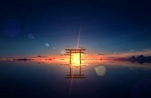 Rating: Safe Score: 125 Tags: clouds kijineko nobody original scenic sky sunset torii water User: otaku_emmy