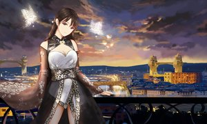 Rating: Safe Score: 127 Tags: animal breasts brown_hair building butterfly city cleavage clouds higandgk japanese_clothes long_hair purple_eyes scenic sky sunset water User: BattlequeenYume