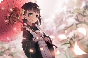 Rating: Safe Score: 207 Tags: brown_hair cherry_blossoms flowers gochuumon_wa_usagi_desu_ka? green_eyes japanese_clothes kimono long_hair maid petals sanka! ujimatsu_chiya umbrella User: Flandre93