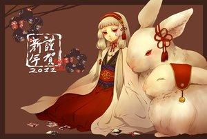 Rating: Safe Score: 75 Tags: animal bell gray_hair japanese_clothes kimono long_hair original rabbit red_eyes senano-yu twintails User: PAIIS