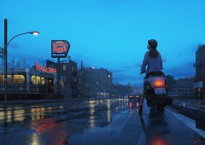 Rating: Safe Score: 69 Tags: building car clouds goggles long_hair motorcycle original rain reflection scenic signed sky tamaki_(tamaki_illust) water User: FormX