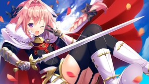 Rating: Safe Score: 22 Tags: all_male armor astolfo blush boots bow braids cape clouds elbow_gloves fang fate/apocrypha fate_(series) garter_belt gloves long_hair male petals pink_hair ponytail purple_eyes sky stockings sword thighhighs tougetsu_hajime trap weapon wink User: RyuZU