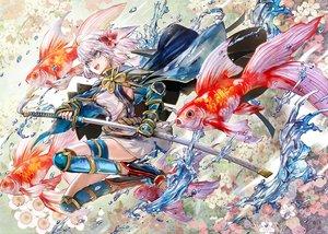 Rating: Safe Score: 47 Tags: animal blue_eyes cape fish flowers gray_hair katana kozou_(soumuden) original short_hair sword weapon User: RyuZU