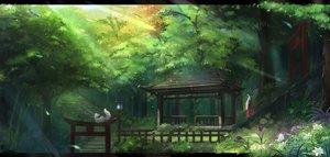 Rating: Safe Score: 173 Tags: animal black_hair butterfly flowers forest fox japanese_clothes kikivi long_hair miko original ponytail scenic shrine torii tree User: Flandre93