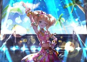 Rating: Safe Score: 29 Tags: aikatsu! blonde_hair blush clouds flowers green_eyes koruse long_hair navel sky tagme_(character) tree twintails User: RyuZU