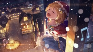 Rating: Safe Score: 69 Tags: bell bow building cape christmas city hat hololive music narumi_nanami santa_costume santa_hat snow yozora_mel User: RyuZU