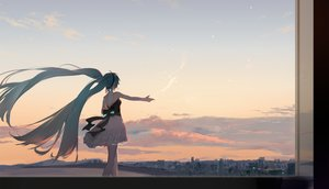 Rating: Safe Score: 69 Tags: building city clouds hatsune_miku sky sunset twintails vocaloid yyb User: Dreista