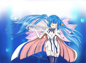 Rating: Safe Score: 23 Tags: blue_hair cape collar elbow_gloves flute gloves instrument long_hair minachu_t nymph sora_no_otoshimono thighhighs twintails wings User: Kumacuda