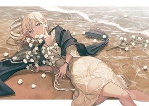 Rating: Safe Score: 65 Tags: beach blonde_hair blue_eyes cape dress kururi long_hair original water wet User: otaku_emmy