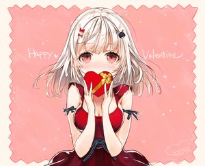 Rating: Safe Score: 63 Tags: blush breasts cleavage dress gray_hair original red_eyes sanbasou short_hair signed valentine User: RyuZU