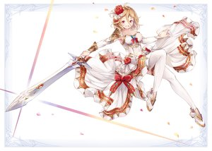 Rating: Safe Score: 23 Tags: blonde_hair bow breasts cleavage dress original petals red_eyes short_hair sword thighhighs weapon yashiron2011 User: otaku_emmy