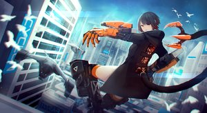Rating: Safe Score: 37 Tags: aircraft animal bird black_hair building city eyepatch kasagarasu orange_eyes original short_hair sky tail techgirl thighhighs User: RyuZU