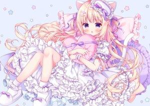 Rating: Safe Score: 58 Tags: animal_ears blonde_hair blush catgirl cropped dress lolita_fashion long_hair original purple_eyes puu_(kari---ume) tail User: BattlequeenYume