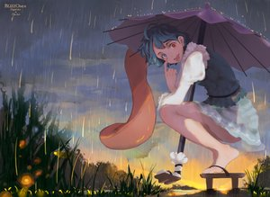 Rating: Safe Score: 39 Tags: barefoot bicolored_eyes blizzomos blue_eyes green_hair rain red_eyes short_hair skirt tatara_kogasa touhou umbrella water watermark User: BattlequeenYume