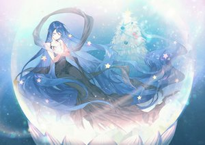 Rating: Safe Score: 44 Tags: blue_hair christmas dress long_hair original ot-nm signed stars tree User: BattlequeenYume