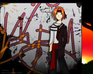 Rating: Safe Score: 3 Tags: gloves graffiti green_eyes headband male orange_hair original short_hair tagme_(artist) tie User: Oyashiro-sama