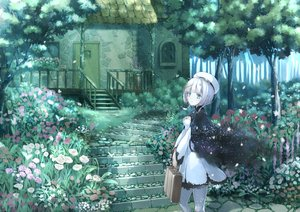 Rating: Safe Score: 148 Tags: blue_eyes blue_hair building flowers hat hyp original short_hair stairs tree User: Flandre93