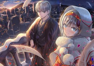 Rating: Safe Score: 26 Tags: blue_eyes blush building city clouds gray_eyes gray_hair hoodie japanese_clothes kimono male original sky stars sunset windfeathers User: Maboroshi
