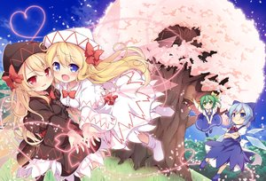 Rating: Safe Score: 51 Tags: aliasing baku_ph blonde_hair blue_eyes blue_hair blush boots bow breasts cherry_blossoms cirno daiyousei dress fairy flowers grass green_eyes green_hair hat heart lily_black lily_white loli long_hair red_eyes ribbons shirt sky touhou tree wings User: 蕾咪