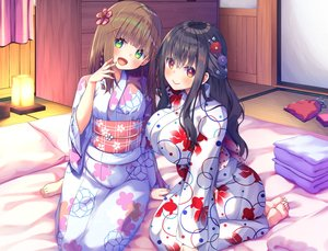 Rating: Safe Score: 67 Tags: 2girls asa_no_ha barefoot black_hair blush braids breasts brown_hair flowers green_eyes japanese_clothes long_hair original short_hair yukata User: BattlequeenYume