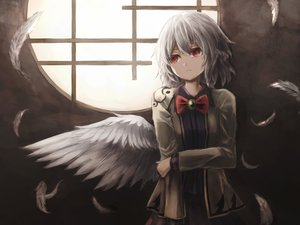 Rating: Safe Score: 65 Tags: bow feathers kishin_sagume red_eyes short_hair skirt thkani touhou white_hair wings User: mattiasc02