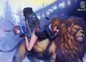 Rating: Safe Score: 52 Tags: 2girls amiya_(arknights) animal animal_ears arknights brown_hair building catgirl doctor_(arknights) green_eyes lion long_hair male mask ponytail shorts siege_(arknights) sleeping tagme_(artist) tail watermark User: BattlequeenYume