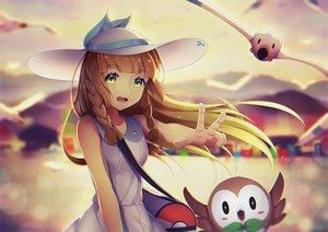 Rating: Safe Score: 65 Tags: blonde_hair braids dress green_eyes hat lillie_(pokemon) long_hair pokemon rowlet summer_dress wingull xiaosan_ye User: RyuZU